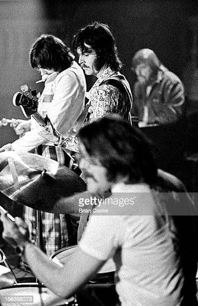 Traffic perform on stage with the Muscle Shoals rhythm section at Birmingham Town Hall on Wednesday March 20 1973 LR Chris Wood David Hood Roger...