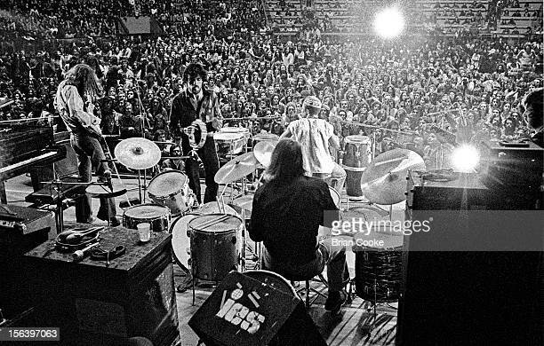 Traffic perform on stage with the Muscle Shoals rhythm section at the Palazzo dello Sport in Rome on March 29 1973 LR Steve Winwood Jim Capaldi Roger...