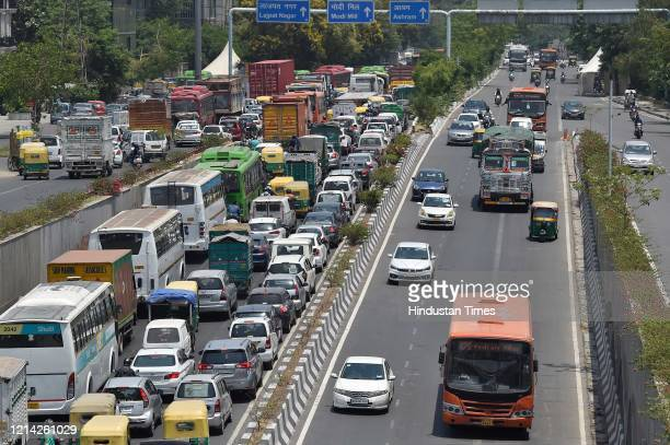 Traffic piled up after government eased lockdown restriction at South Extension Road on May 20 2020 in New Delhi India