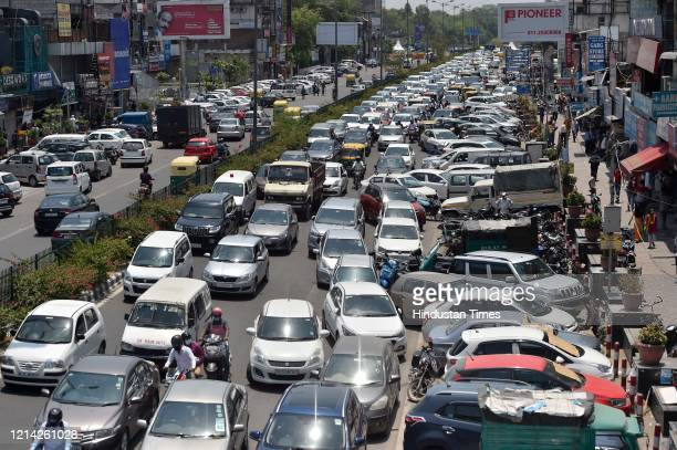 Traffic piled up after government eased lockdown restriction at Yusuf Sarai on May 20 2020 in New Delhi India