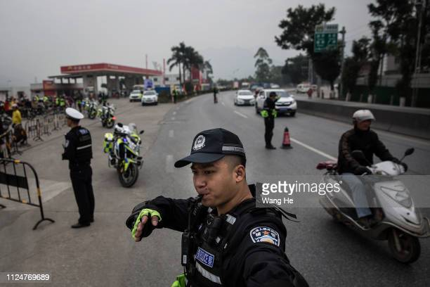 Traffic police give out commands to the motorcyclists on January 25, 2019 in Zhaoqing, Guangdong Province, China.The Motorcycle Return League refers...