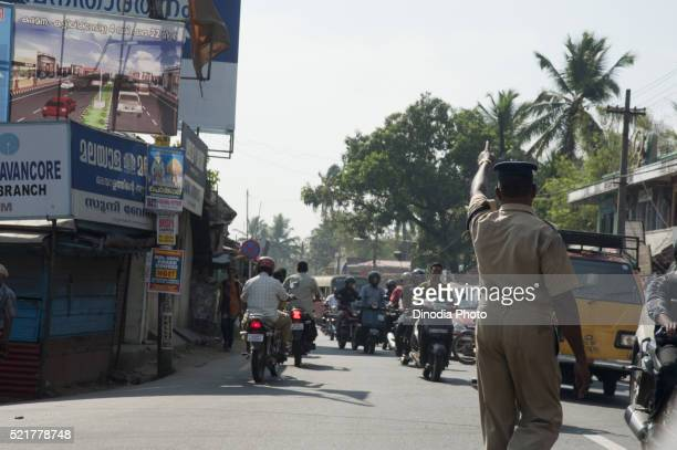 Traffic police on road in trivandrum at kerala, India