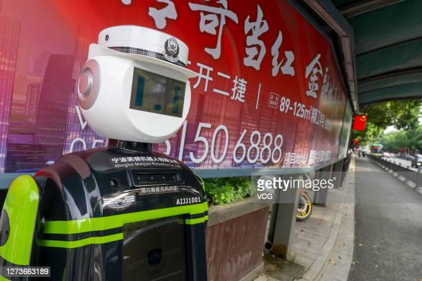 Traffic police robot on the bike lane directs traffic on September 20, 2020 in Shaoxing, Zhejiang Province of China.