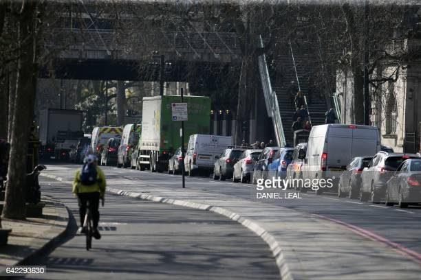 Traffic queues in central London on February 17 2017 Motorists in London who own old polluting vehicles are to be hit with a new charge from October...
