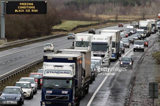 Traffic queues on the M8 motorway at Harthill following its closure because of black ice on January 5 2011 in Livingston Scotland Major delays were...