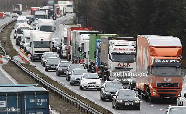 Traffic queues on the M8 motorway following its closure because of black ice on January 5 2011 in Livingston Scotland Major delays were caused on...