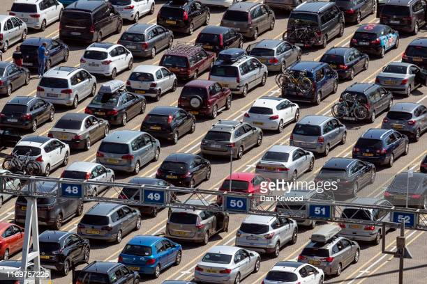 Traffic queues to board a ferry at Dover Port on August 23 2019 in Dover England Traffic is expected to buildup as people get away to take advantage...