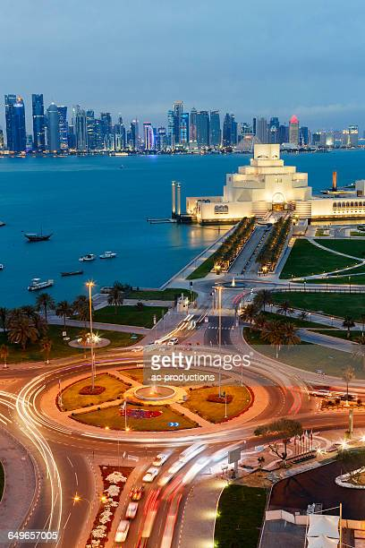 traffic roundabout near doha museum of islamic art, doha, qatar - viewpoint stock pictures, royalty-free photos & images