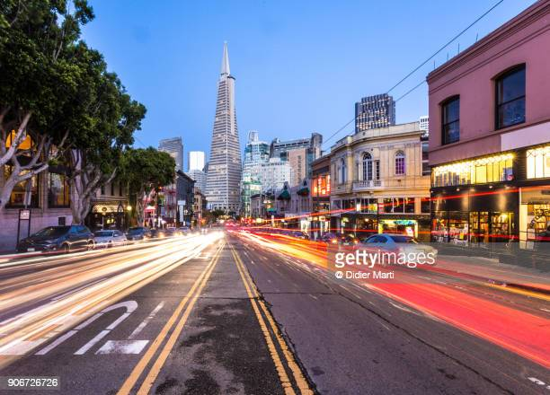 traffic rush in the street of san francisco at twilight, california - north america stock pictures, royalty-free photos & images