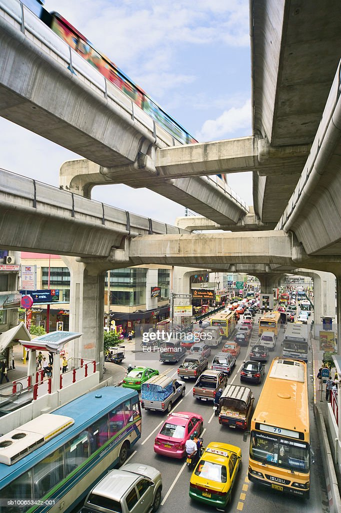 Traffic scene, elevated view : Foto stock