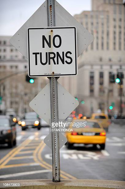 A traffic sign directing drivers near City Hall Lower Manhattan January 19 2011 in New York AFP PHOTO/Stan HONDA