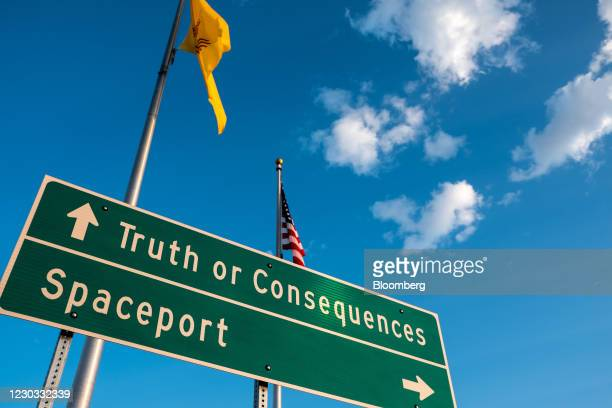 Traffic sign directs drivers to Spaceport America in Truth or Consequences, New Mexico, U.S., on Wednesday, Sept. 16, 2020. Virgin Galactic announced...