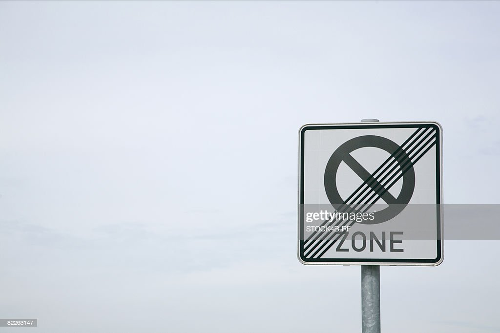 Traffic sign, end no parking area : Stock Photo