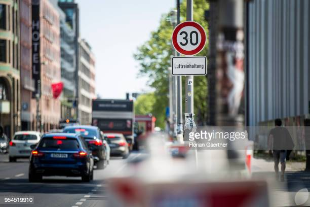 A traffic sign for speed limit and with the lettering 'Luftreinhaltung' is pictured in the city center on May 04 2018 in Berlin Germany
