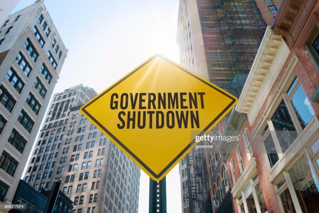 "Traffic sign quoting ""government shutdown"""