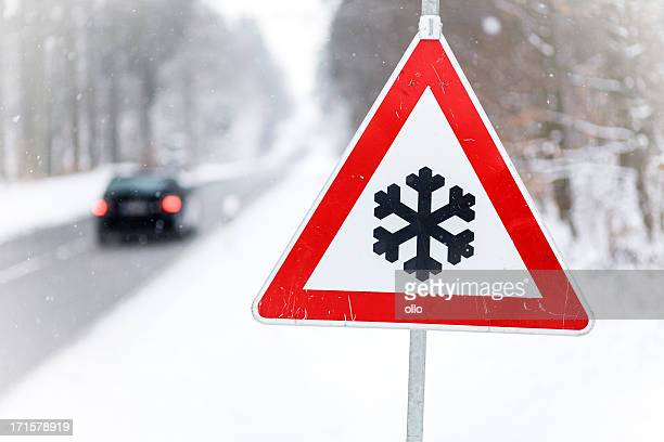traffic sign - snow ahead - warning sign stock pictures, royalty-free photos & images