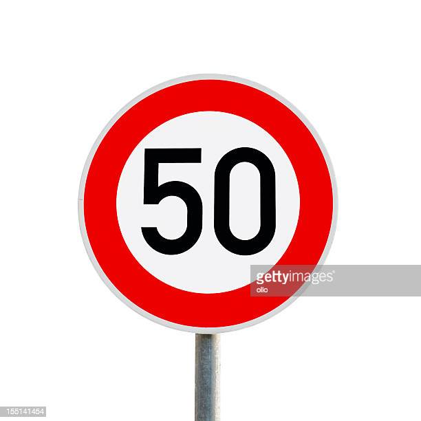 traffic sign - speed limit 50 km/h - speed limit sign stock photos and pictures