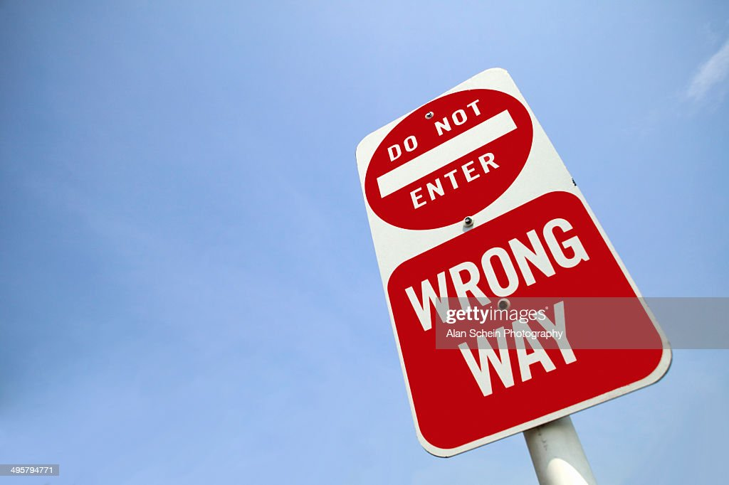 Traffic sign 'Wrong way' : Stock Photo