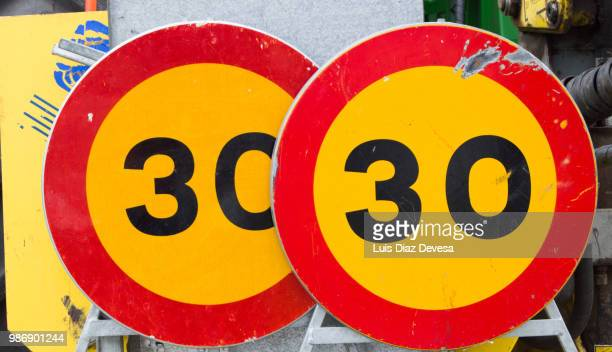 Traffic signals ( Speed limit sign showing 30 )