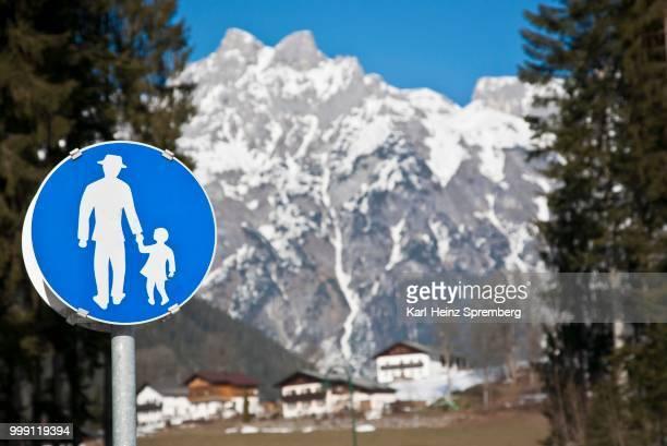 Traffic signs in the mountains, Werfen, Austria