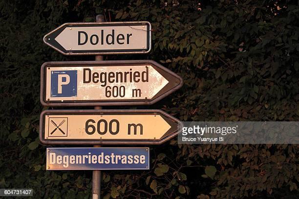 Traffic signs on Adlisberg Hill