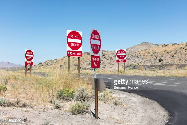 traffic signs - wrong way stock pictures, royalty-free photos & images