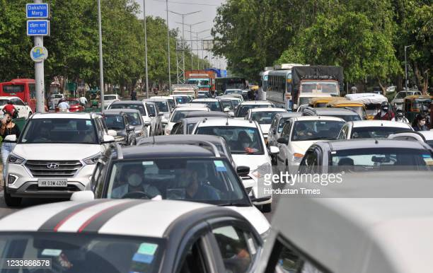 Traffic snarls during the farmers march towards Punjab Raj Bhawan to mark seven months of farmers agitation against the three new farm laws, at...