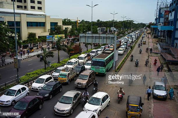 Traffic stands congested outside the Tidel Park information technology hub in Chennai Tamil Nadu India on Monday July 21 2014 Optimism about a...