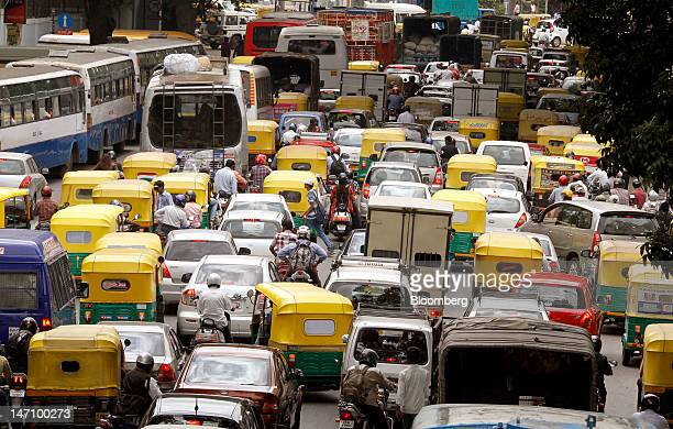 Traffic stands in a queue on Residency Road in downtown Bangalore India on Friday June 22 2012 The city's traffic jams make it the sixthmost painful...