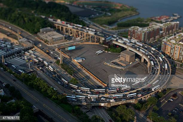Traffic stands near the Lincoln Tunnel in this aerial photograph taken with a tiltshift lens above Weehawken New Jersey US on Wednesday June 10 2015...