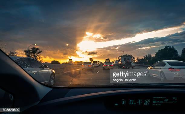 Traffic sunset POV