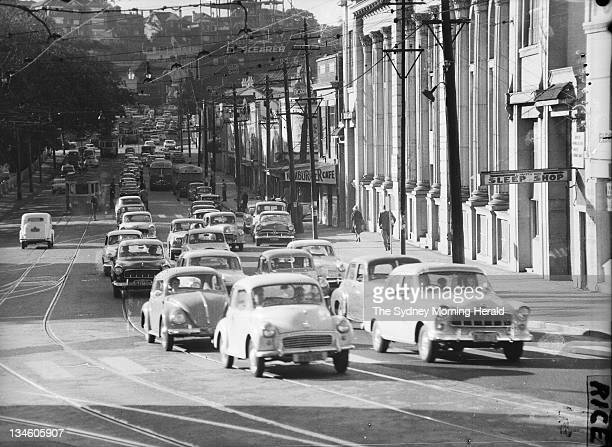 A traffic survey on New South Head Road in Rushcutters Bay Sydney 17 May 1960