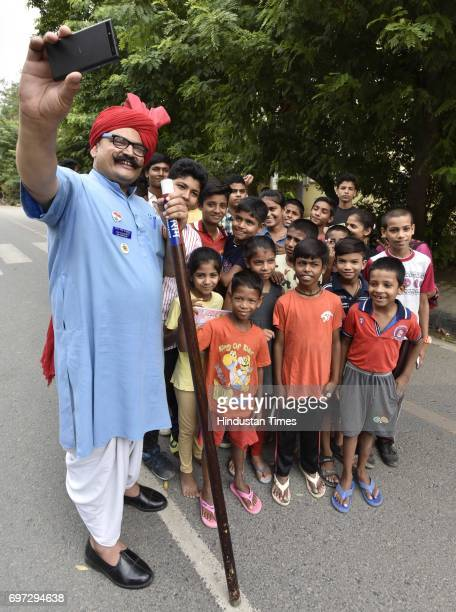Traffic Tau participates on the Raahgiri Day at Sushant Lok near Galleria Market organized by MCG on June 18 2017 in Gurugram India The day is a...
