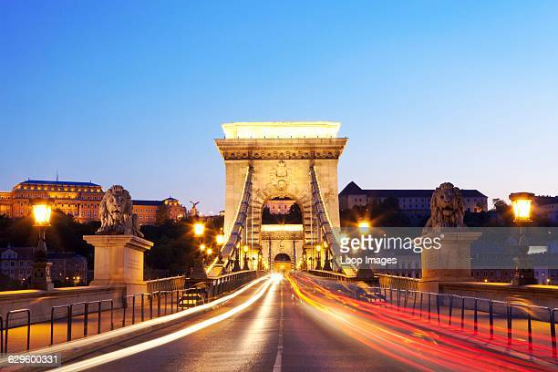 Traffic trails over the Chain Bridge over the river Danube in Budapest, Budapest, Hungary.