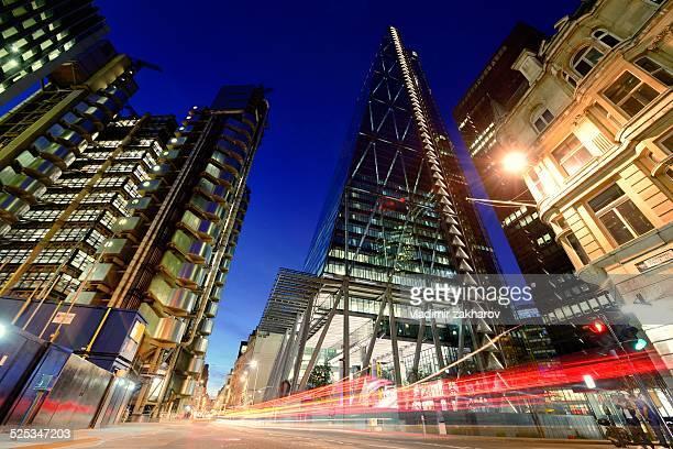 Traffic trails thru city of London