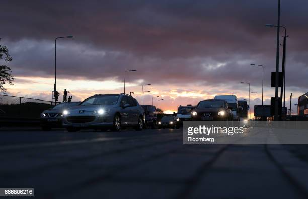 Traffic travels along the A13 dual carriageway in London UK on Monday April 10 2017 London has missed by seven years legal deadlines to improve air...