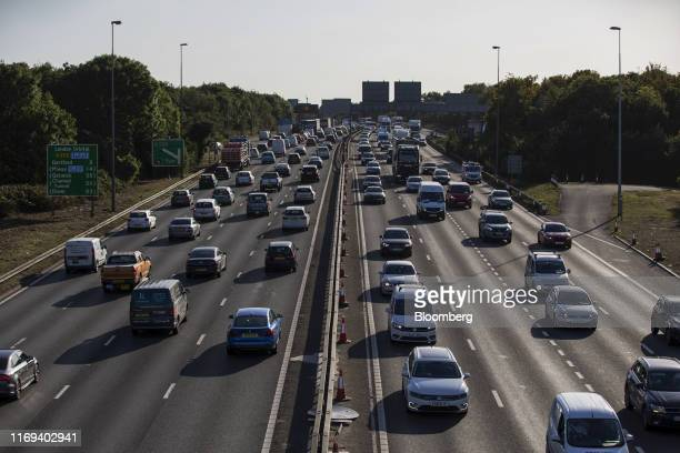 Traffic travels in both directions on the M20 motorway near Dartford UK on Wednesday Sept 18 2019 Operation Yellowhammer the codename for the UK...