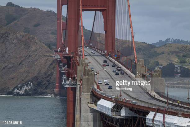 Traffic travels over the Golden Gate Bridge in San Francisco, California, U.S., on Tuesday, May 12, 2020. Gasoline demand is rebounding, suggesting...