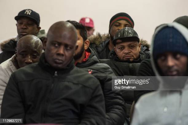 Traffic wardens hold a meeting after picketing the offices of Camden car pound on February 14 2019 in London United Kingdom The London Borough of...