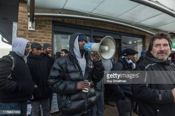 Traffic wardens picket the offices of Camden car pound on February 14 2019 in London United Kingdom The London Borough of Camden's Traffic Wardens...