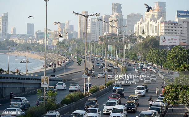 Traffic ways its way down Marine Drive on November 23, 2012 in Mumbai, India.