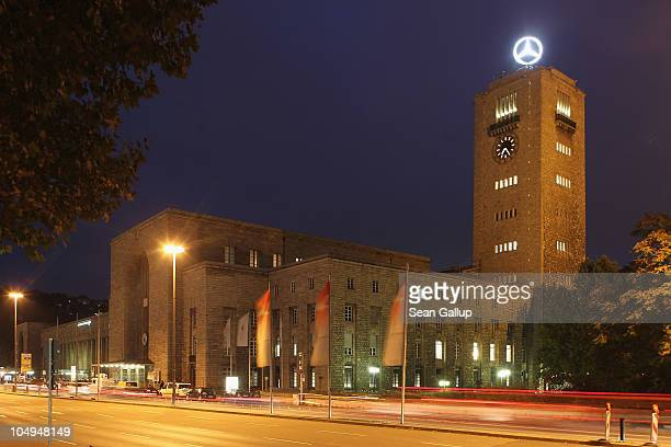 Traffic whizzes past Hauptbahnhof railway station on October 7 2010 in Stuttgart Germany An ambitious project called Stuttgart 21 will replace...