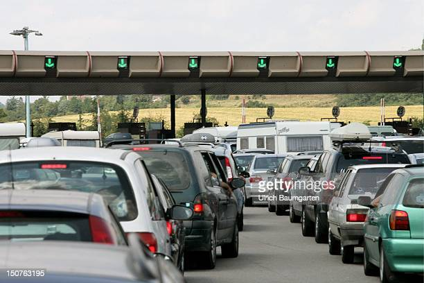 Trafficjam at the tollbooth near Vienne
