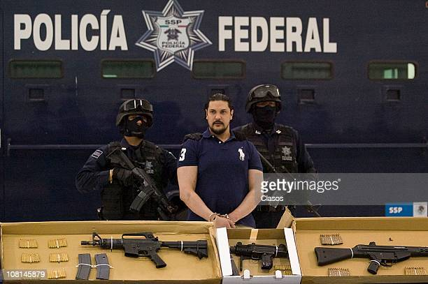 Trafficker Jose Jorge Balderas Garza aka JJ is presented by Mexican Federal Police after being arrested on January 18 2011 in Mexico City Mexico