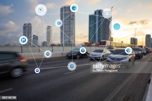 Traffict,vehicles, wireless technology communication network, internet of things, abstract image visual concept design
