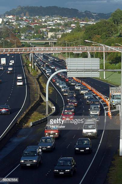Trafic is nose to tail along the North Western Motorway in Auckland New Zealand Friday June 25th after a hitchhiker was fatally hit on the city...