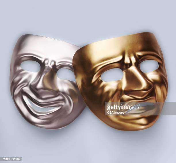 tragedy and comedy masks - 悲劇の面 ストックフォトと画像