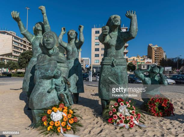 Tragedy at Sea sculpture by Jose Joao Brito commemorating the sinking of four trawlers in 1947 which killed 152 local fishermen seen during the visit...