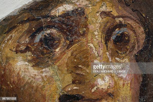 Tragedy mask detail fragment of fresco from Villa Arianna in the ancient city of Stabiae Castellammare di Stabia Campania Italy Roman civilisation...
