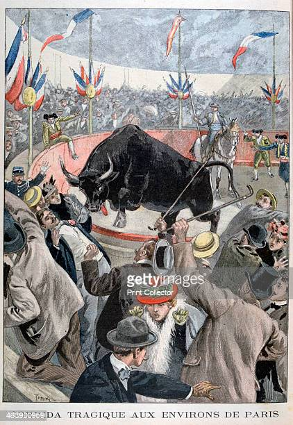Tragic bullfight accident around Paris 1899 An illustration from Le Petit Journal 22nd October 1899